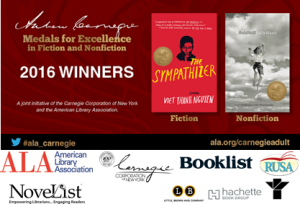 Carnegie winners with sponsor logos